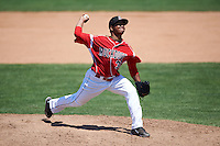 Batavia Muckdogs pitcher Ayron Adames (36) delivers a pitch during a game against the Williamsport Crosscutters on July 16, 2015 at Dwyer Stadium in Batavia, New York.  Batavia defeated Williamsport 4-2.  (Mike Janes/Four Seam Images)