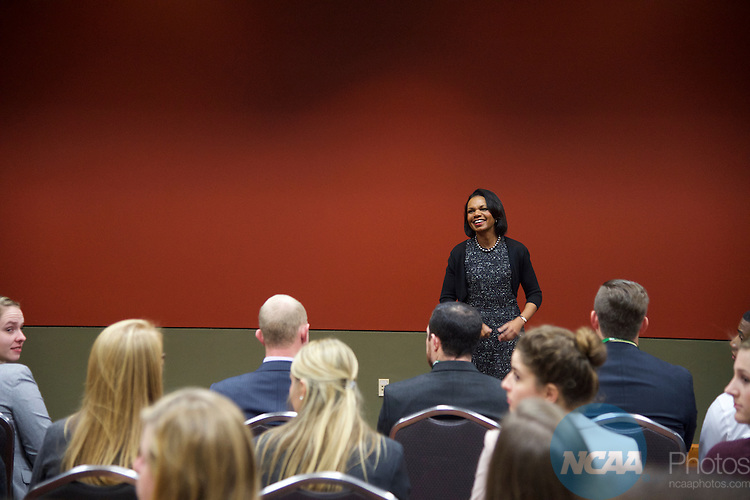 14 JAN 2016:  Condoleezza Rice visits the Division I, II, III SAAC's during the 2016 NCAA Convention held at the Grand Hyatt San Antonio in San Antonio, TX.   Jamie Schwaberow/NCAA Photos