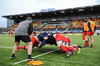 Worcester Warriors forwards warm up prior to the match. Aviva Premiership match, between Saracens and Worcester Warriors on December 30, 2017 at Allianz Park in London, England. Photo by: Patrick Khachfe / JMP