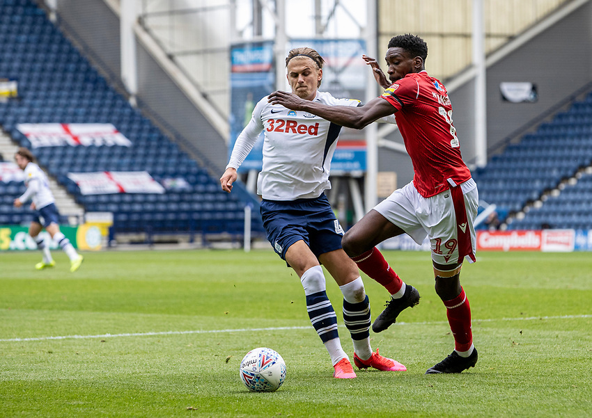 Preston North End's Brad Potts competing with Nottingham Forest's Sammy Ameobi (right) <br /> <br /> Photographer Andrew Kearns/CameraSport<br /> <br /> The EFL Sky Bet Championship - Preston North End v Nottingham Forest - Saturday 11th July 2020 - Deepdale Stadium - Preston <br /> <br /> World Copyright © 2020 CameraSport. All rights reserved. 43 Linden Ave. Countesthorpe. Leicester. England. LE8 5PG - Tel: +44 (0) 116 277 4147 - admin@camerasport.com - www.camerasport.com