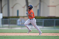 GCL Astros Rolando Espinosa (10) running the bases during a Gulf Coast League game against the GCL Marlins on August 8, 2019 at the Roger Dean Chevrolet Stadium Complex in Jupiter, Florida.  GCL Marlins defeated GCL Astros 5-4.  (Mike Janes/Four Seam Images)