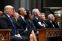 From left, President Donald Trump, first lady Melania Trump, former President Barack Obama, Michelle Obama, former President Bill Clinton, former Secretary of State Hillary Clinton, and former President Jimmy Carter listen as former President George W. Bush speaks during a State Funeral at the National Cathedral, Wednesday, Dec. 5, 2018, in Washington, for former President George H.W. Bush.<br /> CAP/MPI/RS<br /> &copy;RS/MPI/Capital Pictures
