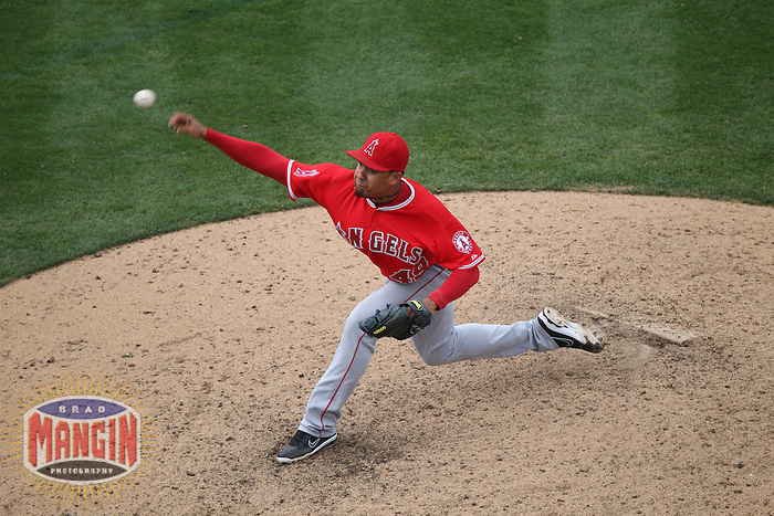 OAKLAND, CA - SEPTEMBER 5:  Ernesto Frieri #49 of the Los Angeles Angels pitches against the Oakland Athletics during the game at O.co Coliseum on Wednesday, September 5, 2012 in Oakland, California. Photo by Brad Mangin