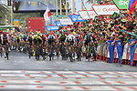 Sam Bennett (IRL) Bora-Hansgrohe wins the sprint for the finish line at the end of Stage 3 of La Vuelta 2019 running 188km from Ibi. Ciudad del Juguete to Alicante, Spain. 26th August 2019.<br /> Picture: Eoin Clarke | Cyclefile<br /> <br /> All photos usage must carry mandatory copyright credit (© Cyclefile | Eoin Clarke)