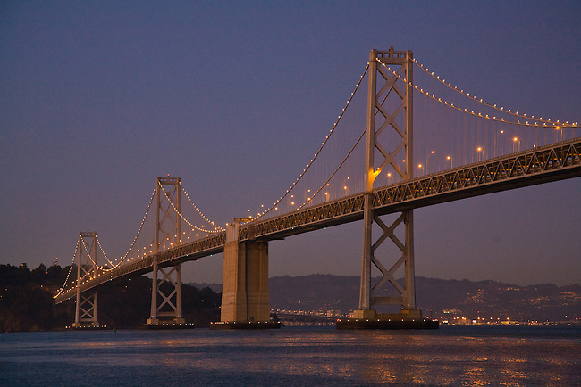 The BAY BRIDGE at night from THE EMBARCADERO - SAN FRANCISCO, CALIFORNIA