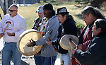 Native Americans perform a Round Dance in front of the Legislative Building in Carson City, Nev., on Monday, Feb. 11, 2013. The rally was held in support of a bill that would prevent hunting of black bears in Nevada. .Photo by Cathleen Allison
