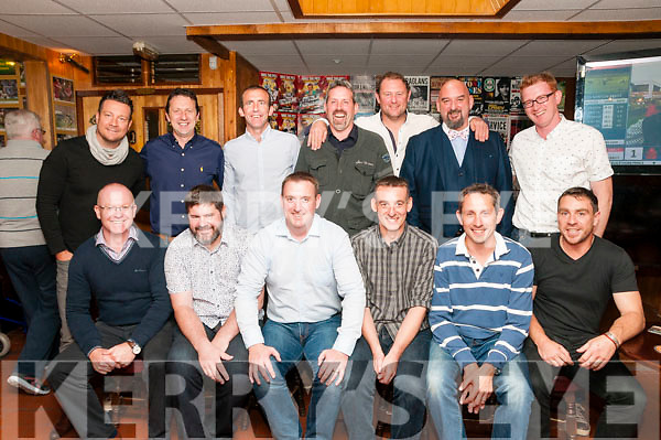 25th Celabration: Members of the Shannon Rangers Minor team that won the minor county championship in 1991 pictured at their reunion at Mike the Pies Bar, Listowel on Thursday last. Front : Mark Donegan, Mark Griffin, Brian Ross, Kevin Foley, Barry O'Connor & Aidan O'Sullivan. Back : Tony McManus, Liam Weir, Padraig O'Donnell, Aidan O'Connor, Kenneth Boyle, Michael Pixie O'Gorman & Cathal O'Connor.