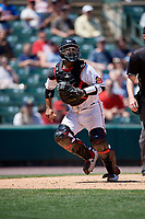 Rochester Red Wings catcher Tomas Telis (18) during an International League game against the Scranton/Wilkes-Barre RailRiders on June 25, 2019 at Frontier Field in Rochester, New York.  Rochester defeated Scranton 10-9.  (Mike Janes/Four Seam Images)