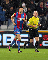 Scott Dann of Crystal Palace (L) after scoring his equaliser during the Barclays Premier League match between Swansea City and Crystal Palace at the Liberty Stadium, Swansea on February 06 2016