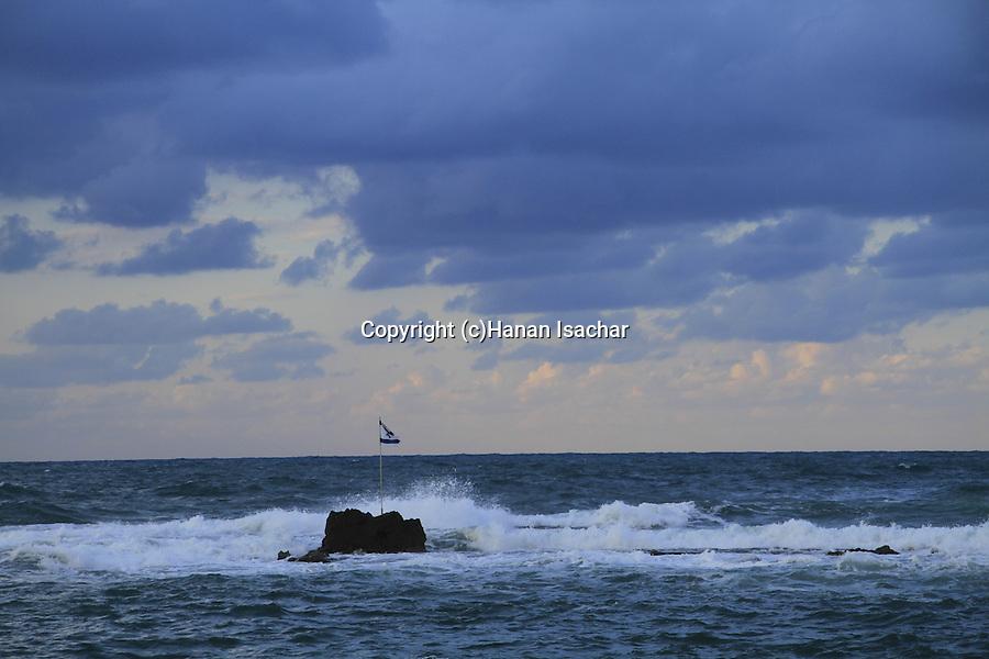Israel, Tel Aviv-Yafo, Andromeda Rock at Jaffa port