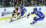 SIOUX FALLS, SD - MARCH 24: Peter Krieger #25 for Minnesota Duluth flips the puck past Evan Giesler #15 from Air Force during their game at the 2018 West Region Men's NCAA DI Hockey Tournament at the Denny Sanford Premier Center in Sioux Falls, SD. (Photo by Dave Eggen/Inertia)