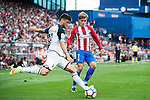 Borja Valle of Deportivo de la Coruna fights for the ball with Antoine Griezmann of Atletico Madrid during their La Liga match between Atletico Madrid and Deportivo de la Coruna at the Vicente Calderon Stadium on 25 September 2016 in Madrid, Spain. Photo by Diego Gonzalez Souto / Power Sport Images