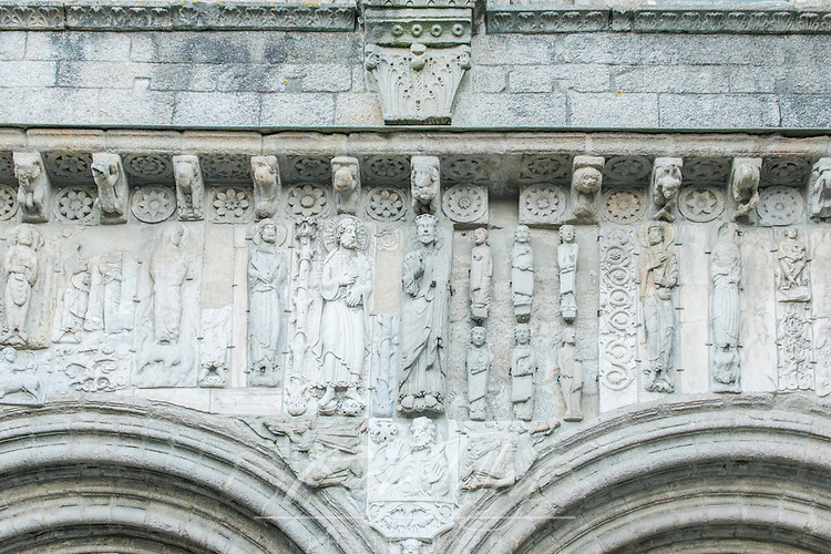 Spain, Satiago de Compostela, Bas Relief Sculpture Above Cathedral Door