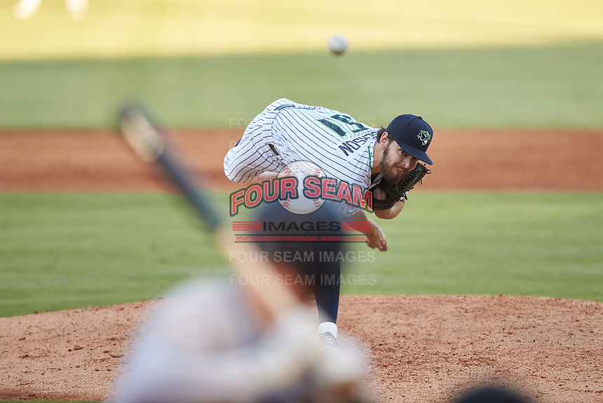Gwinnett Braves starting pitcher Ian Anderson (51) delivers a pitch to the plate against the Scranton/Wilkes-Barre RailRiders at BB&T BallPark on August 18, 2019 in Lawrenceville, Georgia. The RailRiders defeated the Stripers 9-3. (Brian Westerholt/Four Seam Images)