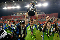 Toronto, ON, Canada - Saturday, Dec. 10, 2016: Nelson Valdez, Nicolas Lodeiro,  celebrates during the MLS Cup finals at BMO Field. The Seattle Sounders FC defeated Toronto FC on penalty kicks after playing a scoreless game.