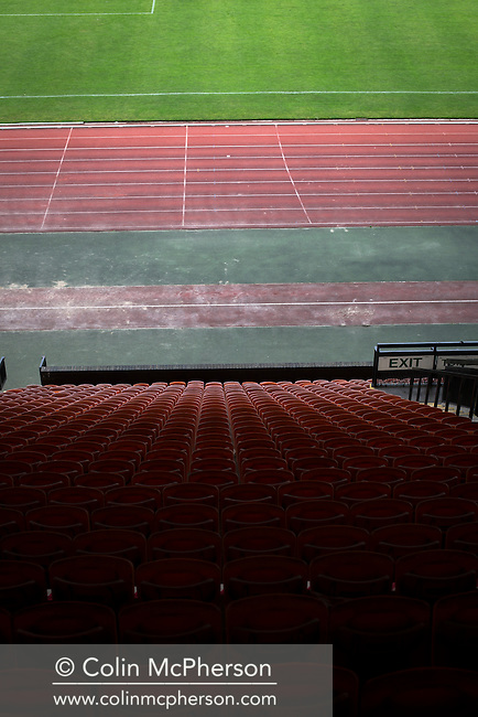 An interior view ground showing the grandstand at Meadowbank Stadium in Edinburgh, before Edinburgh City played host to Spartans in a Lowland League fixture. The host won the match 1-0 with a late goal by Ousman See, despite playing for the last 30 minutes with 10 men after Ross Allum was sent off. The wind kept the reigning champions side clear at the top of the league.