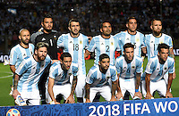 SAN JUAN- ARGENTINA-15-11-2016: Los jugadores de Argentina, posan para una foto, durante partido entre los seleccionados de Argentina y Colombia por la fecha 12 válido por la clasificación a la Copa Mundo FIFA Rusia 2018, jugado en el Estadio San Juan del Bicentenario de la ciudad de San Juan. /  The players of Argentina, pose for a photo, during match between Argentina and Colombia for the date 12 valid for the  FIFA World Cup Russia 2018, Qualifier played at San Juan del Bicentenario Stadium in San Juan city. Photo: VizzorImage / Mario Garcia /Photogamma / Cont.