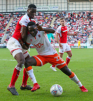 Blackpool's Daniel Agyei holds off the challenge from Rotherham United's Josh Emmanuel<br /> <br /> Photographer Alex Dodd/CameraSport<br /> <br /> The EFL Sky Bet League One - Rotherham United v Blackpool - Saturday 5th May 2018 - New York Stadium - Rotherham<br /> <br /> World Copyright &copy; 2018 CameraSport. All rights reserved. 43 Linden Ave. Countesthorpe. Leicester. England. LE8 5PG - Tel: +44 (0) 116 277 4147 - admin@camerasport.com - www.camerasport.com