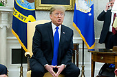 US President Donald J. Trump delivers remarks in the Oval Office of the White House in Washington, DC, USA, 13 February 2019. President Trump met with President of Colombia Ivan Duque to discuss economic policies, combatting narcotics and the current situation in Venezuela.<br /> Credit: Michael Reynolds / Pool via CNP