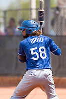 Los Angeles Dodgers infielder Ronny Brito (58) on deck during an Instructional League game against the Milwaukee Brewers at Maryvale Baseball Park on September 24, 2018 in Phoenix, Arizona. (Zachary Lucy/Four Seam Images)