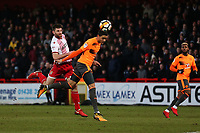Danny Newton of Stevenage and Tiago Ilori of Reading during Stevenage vs Reading, Emirates FA Cup Football at the Lamex Stadium on 6th January 2018