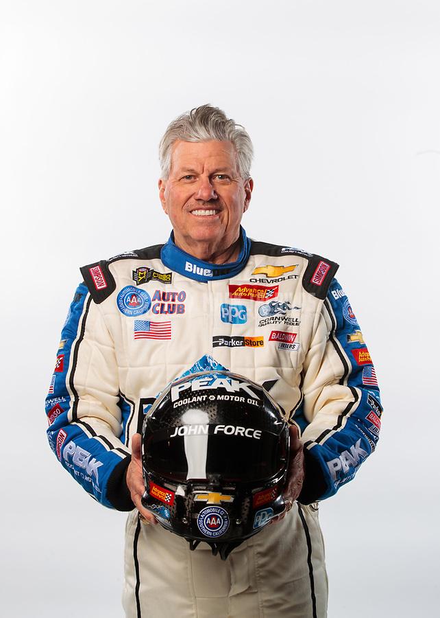 Feb 6, 2019; Pomona, CA, USA; NHRA funny car driver John Force poses for a portrait during NHRA Media Day at the NHRA Museum. Mandatory Credit: Mark J. Rebilas-USA TODAY Sports