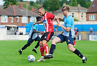 Lincoln City's Jack Payne shields the ball from Gainsborough Trinity's trialist<br /> <br /> Photographer Chris Vaughan/CameraSport<br /> <br /> Football Pre-Season Friendly (Community Festival of Lincolnshire) - Gainsborough Trinity v Lincoln City - Saturday 6th July 2019 - The Martin & Co Arena - Gainsborough<br /> <br /> World Copyright © 2018 CameraSport. All rights reserved. 43 Linden Ave. Countesthorpe. Leicester. England. LE8 5PG - Tel: +44 (0) 116 277 4147 - admin@camerasport.com - www.camerasport.com