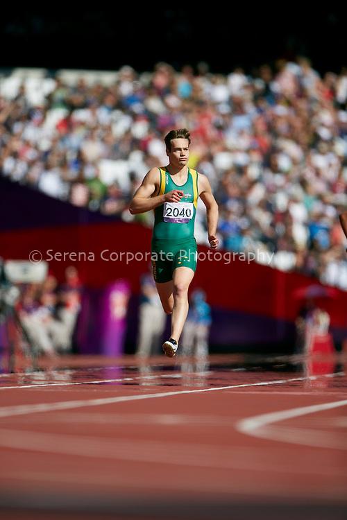 Australia's Evan O'Hanlon wins his heat of the men's T38 200m..London Paralympic Games - Athletics 7.9.12