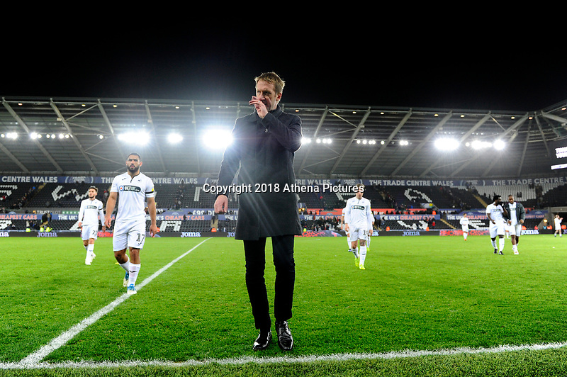Graham Potter Manager of Swansea City leaves the pitch dejected at full time during the Sky Bet Championship match between Swansea City and West Bromwich Albion at the Liberty Stadium in Swansea, Wales, UK. Wednesday 28 November 2018