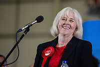 Pictured: Labour's candidate Ruth Jones after winning the Newport West by-election ballot count at the Geraint Thomas National Velodrome of Wales in Newport, South Wales, UK. Friday 05 April 2019<br /> Re: Voters in Newport West are going to the polls to elect a new member of Parliament.<br /> The seat in south east Wales became vacant following the death of Paul Flynn earlier in February.