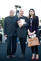 Roma, 5 Giugno, 2013. L'architetto Massimiliano Fuksas con la moglie Doriana Mandrelli e la figlia Elisa Fuksas al 'One Night Only' Roma organizzato da Giorgio Armani al Palazzo della Civilta Italiana.