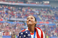 LYON, FRANCE - JULY 07: Christen Press #23 after the 2019 FIFA Women's World Cup France final match between the Netherlands and the United States at Stade de Lyon on July 07, 2019 in Lyon, France.