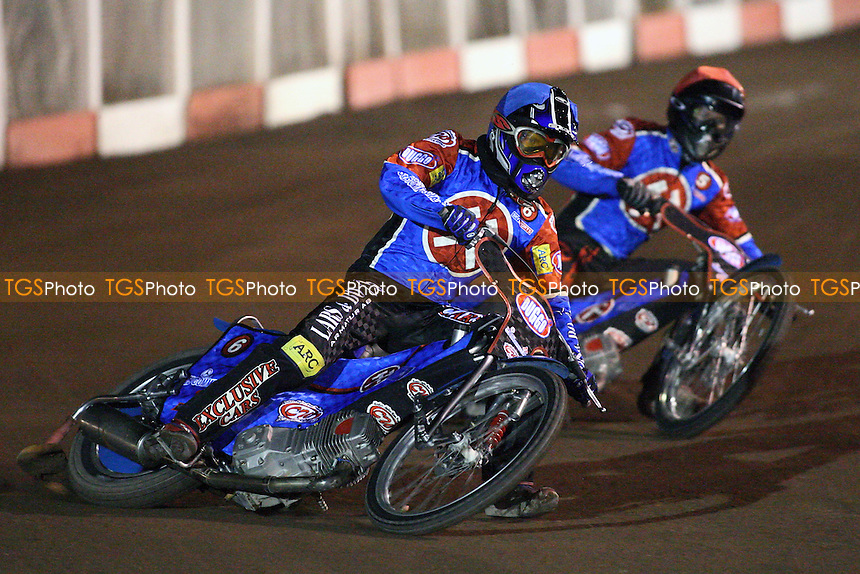 Heat 7: Lakeside pair Ricky Kling (blue) and Leigh Lanham - Lakeside Hammers vs Poole Pirates - Spring Trophy 2nd Leg at Arena Essex Raceway - 14/03/08 - MANDATORY CREDIT: Gavin Ellis/TGSPHOTO. Self-Billing applies where appropriate. NO UNPAID USE. Tel: 0845 094 6026
