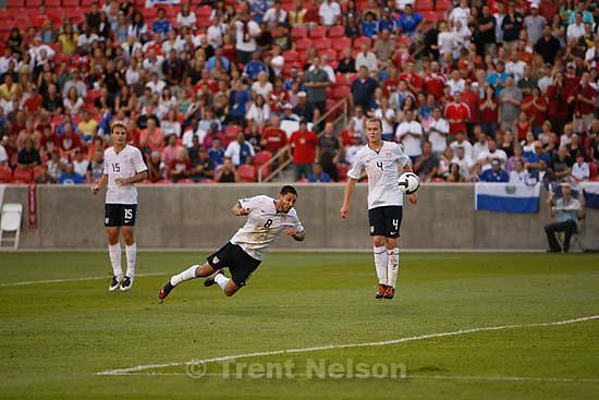 Sandy - USA midfielder Clint Dempsey heads in a goal in the first half. USA vs. El Salvadar FIFA World Cup Qualifier Soccer Saturday, September 5 2009 at Rio Tinto Stadium. .USA midfielder Michael Bradley