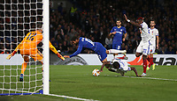 Chelsea's Ruben Loftus-Cheek is challenged in the penalty area but no penalty was awarded<br /> <br /> Photographer Rob Newell/CameraSport<br /> <br /> UEFA Europa League - Group L - Chelsea v MOL Vidi - Thursday 4th October 2018 - Stamford Bridge - London<br />  <br /> World Copyright © 2018 CameraSport. All rights reserved. 43 Linden Ave. Countesthorpe. Leicester. England. LE8 5PG - Tel: +44 (0) 116 277 4147 - admin@camerasport.com - www.camerasport.com