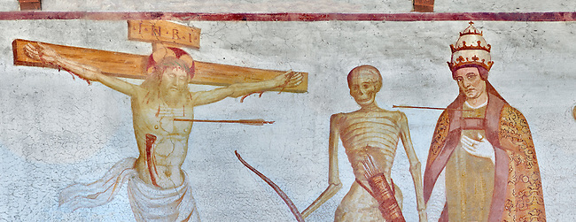 "Crucifiction fresco on the Church of San Vigilio in Pinzolo, part of its mural painting ""the Dance of Death"" painted by Simone Baschenis of Averaria in1539, Pinzolo, Trentino, Italy"