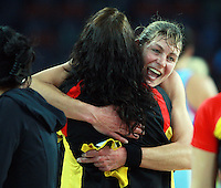 28.06.2010 Magic's Irene Van Dyk celebrates after the ANZ Champs Semi Final netball match between the Magic and Steel played at Vector Arena in Auckland. ©MBPHOTO/Michael Bradley
