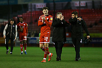 Jordan Tunnicliffe of Crawley Town applauds the fans at the end of the match, Crawley Town vs Bradford City, Sky Bet EFL League 2 Football at Broadfield Stadium on 11th January 2020