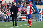 Atletico de Madrid´s coach Diego Simeone speaks with Diego Costa during La Liga match in Vicente Calderon stadium in Madrid, Spain. March 02, 2014. (ALTERPHOTOS/Victor Blanco)