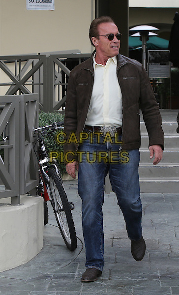 BRENTWOOD, CA - APRIL 4: Arnold Schwarzenegger seen out at Starbucks and eventually getting into is Hummer named Terminator in Brentwood, California on April 4, 2014.  <br /> CAP/MPI/JM<br /> &copy;John Misa/MediaPunch/Capital Pictures