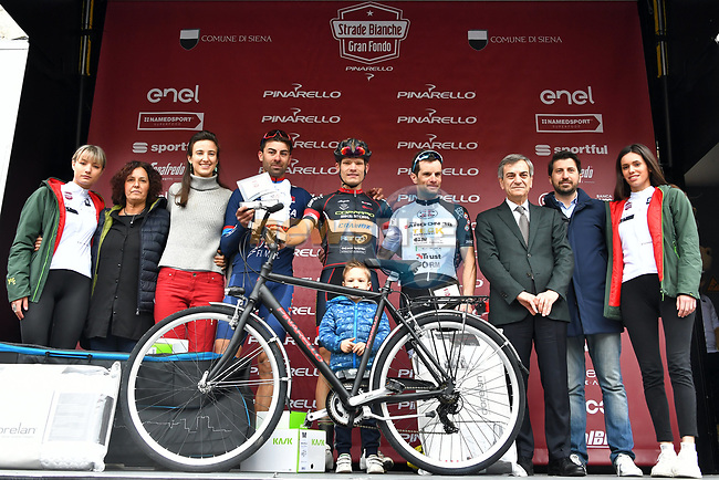 The mens winners of the Gran Fondo Strade Bianche 2019 crossed the start line in the fantastic location of the Fortezza Medicea in Siena running 133km from Siena to Siena, held over the white gravel roads of Tuscany, Italy. 10th March 2019.<br /> Picture: LaPresse/Gian Matteo D'Alberto | Cyclefile<br /> <br /> <br /> All photos usage must carry mandatory copyright credit (© Cyclefile | LaPresse/Gian Matteo D'Alberto)