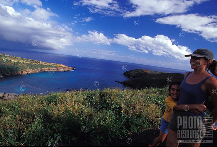 Mother and daughter hiking above Hanauma Bay, Oahu, Hawaii