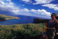 Mother and daughter hiking above Hanauma Bay, Oahu, Hawaii