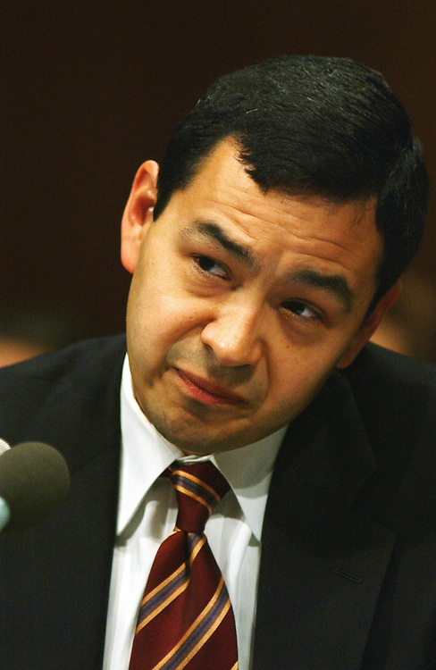 9/26/02.ESTRADA NOMINATION TO D.C. COURT OF APPEALS--Miguel Estrada, President Bush's nominee to the United States Court of Appeals for the District of Columbia, during his hearing before Senate Judiciary..CONGRESSIONAL QUARTERLY PHOTO BY SCOTT J. FERRELL