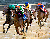 NEW YORK, NY - MAY 13: Highway Star [#3]  wins the Ruffian Stakes, at Belmont Park in the slop by a nose on May 13, 2017 in the Elmont, New York. (Photo by Dan Heary/Eclipse Sportswire/Getty Images)