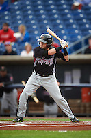 Wisconsin Timber Rattlers first baseman Alan Sharkey (18) at bat during the first game of a doubleheader against the Quad Cities River Bandits on August 19, 2015 at Modern Woodmen Park in Davenport, Iowa.  Quad Cities defeated Wisconsin 3-2.  (Mike Janes/Four Seam Images)