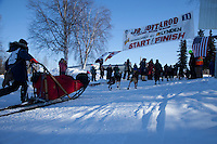 Anitra Winkler crosses the finish line to place 2nd in the 2011 Jr. Iditarod   Willow, Alaska