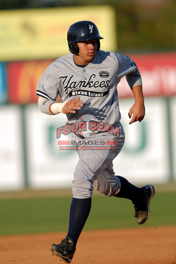 Staten Island Yankees' catcher GARY SANCHEZ  during a game vs. the Lowell Spinners at LaLacheur Park in Lowell, Massachusetts August 28,  2010.   .  Photo By Ken Babbitt/Four Seam Images