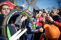 Alejandro Valverde (ESP/Movistar) is much solicited by fans after winning his record 4th Flèche<br /> <br /> Flèche Wallonne 2016