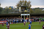 AFC Wimbledon 4 Portsmouth 0, 16/11/2013. Kingsmeadow, League Two. Wimbledon and Portsmouth have had turbulent histories and both supporter-owned clubs are now in League Two. The East terrace with makeshift TV Gantry and the packed away support from Portsmouth.  Photo by Simon Gill.